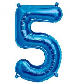 """Globos de Foil de 16"""" (41cm) Numero """"5"""" Azul"""