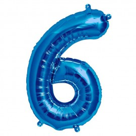 """Globos de Foil de 16"""" (41cm) Numero """"6"""" Azul"""