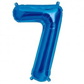 """Globos de Foil de 16"""" (41cm) Numero """"7"""" Azul"""