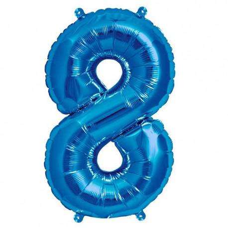 """Globos de Foil de 16"""" (41cm) Numero """"8"""" Azul"""