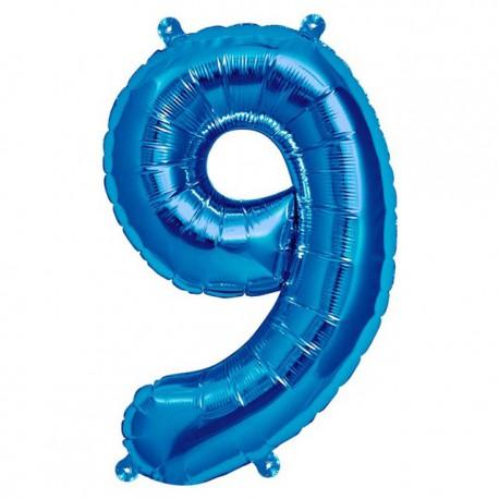 """Globos de Foil de 16"""" (41cm) Numero """"9"""" Azul"""