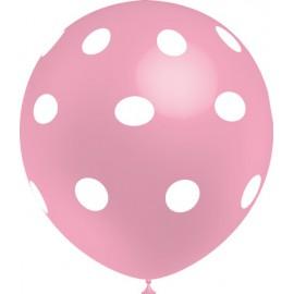 """Globos de 12"""" Rosa Baby Lunares Balloonia"""