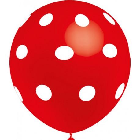 """Globos de 12"""" Rojo Lunares Balloonia"""