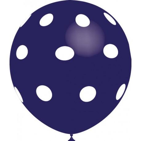"""Globos de 12"""" Azul Marino Lunares Balloonia"""