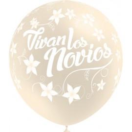 """Globos de 12"""" Vivan Los Novios Transparente Balloonia"""