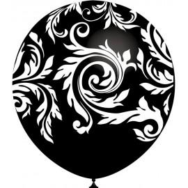 """Globos de 12"""" Damasco Negro Balloonia"""