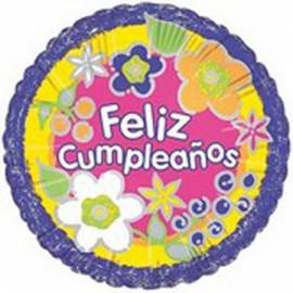"Globos de foil de 18"" (45Cm) Cumpleaños Flores"