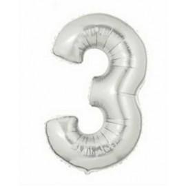 """Globos de Foil de 7"""" (18cm) Numero 3"""