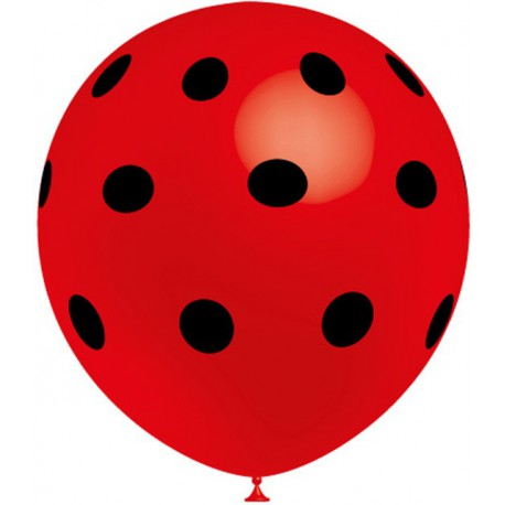 """Globos de 12"""" Rojo Lunares Negros Balloonia"""