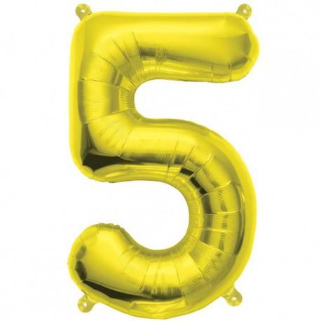 "Globos de Foil de 16"" (41cm) Numero ""5"" Oro"
