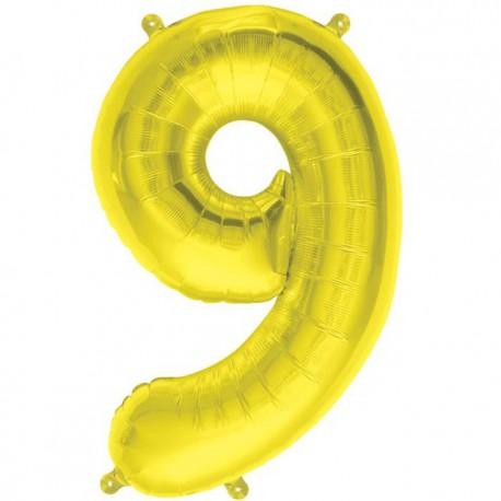 "Globos de Foil de 16"" (41cm) Numero ""9"" Oro"