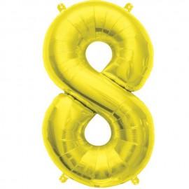 "Globos de Foil de 16"" (41cm) Numero ""8"" Oro"