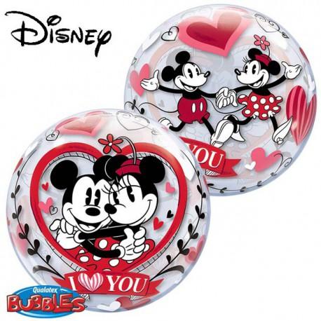 "Globos de foil de 22"" Bubbles Mickey & Minnie ILY"