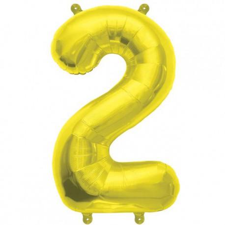"Globos de Foil de 16"" (41cm) Numero ""2"" Oro"