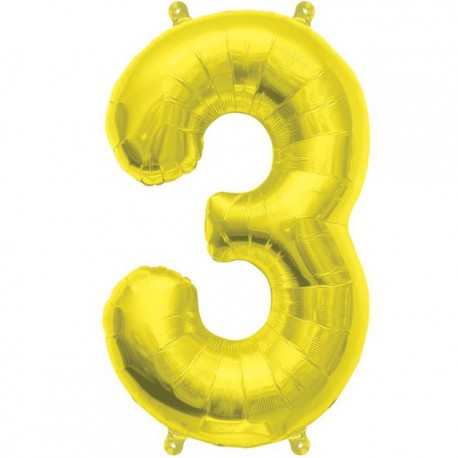 "Globos de Foil de 16"" (41cm) Numero ""3"" Oro"