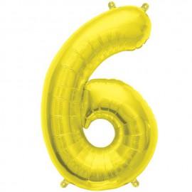 "Globos de Foil de 16"" (41cm) Numero ""6"" Oro"