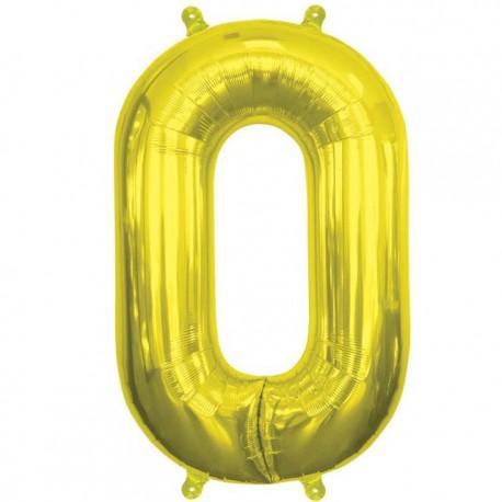 "Globos de Foil de 16"" (41cm) Numero ""0"" Oro"