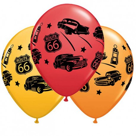 "Globos de 11"" Coches Clasicos Ruta 66 Qualatex"