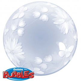 """Globos foil de 20"""" Bubbles Mariposas y Flores"""