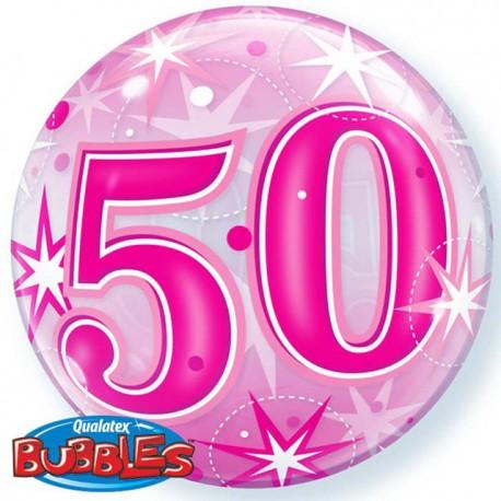 "Globos de foil de 22"" Bubbles 50 Cumple Rosa Starbust"