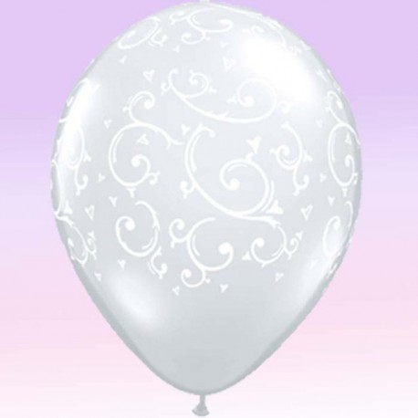 "Globos de 11"" Filigranas Y Corazones Qualatex"