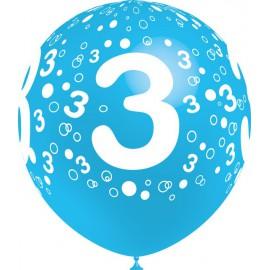 """Globos de 12"""" Número 3 Balloonia"""