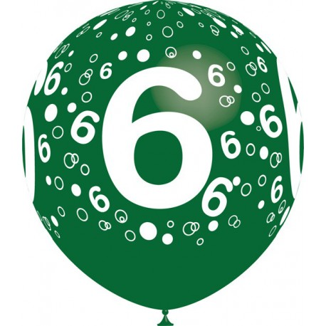 """Globos de 12"""" Número 6 Balloonia"""