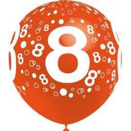 """Globos de 12"""" Número 8 Balloonia"""