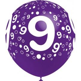 """Globos de 12"""" Número 9 Balloonia"""