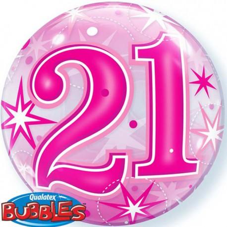 "Globos de foil de 22"" Bubbles 21 Cumple Rosa Starbust"