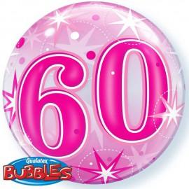 "Globos de foil de 22"" Bubbles 60 Cumple Rosa Starbust"