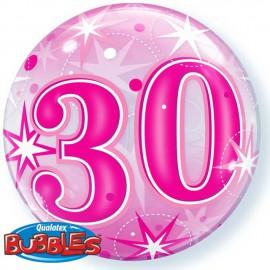"Globos de foil de 22"" Bubbles 30 Cumple Rosa Starbust"