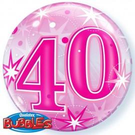 "Globos 22"" Bubbles 40 Cumple Rosa Starbust"