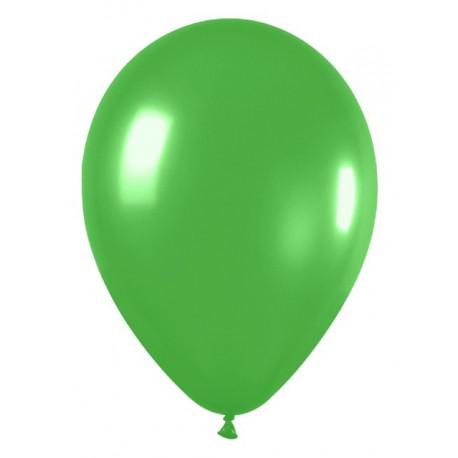 "Globos redondos de 12"" Verde Lima Metálico"