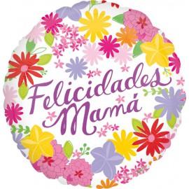 """Globos foil 18"""" (45Cm) Felicidades Mama Flores"""