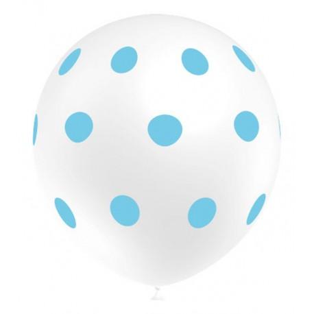 """Globos de 12"""" Blanco Lunares Azules"""