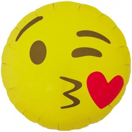 """Globos de foil de 18"""" (46Cm) Emoji Besando Corazones"""