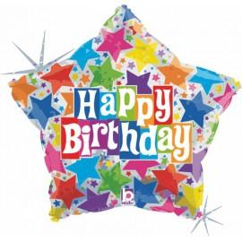 """Globos de foil de 19"""" birthday estrella"""