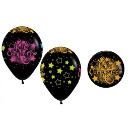 Globos R-12 (30Cm) Negro Feliz Cumpleaños Neon