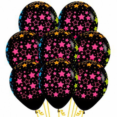 Globos R-12 (30Cm) Negro Estrellas Neon