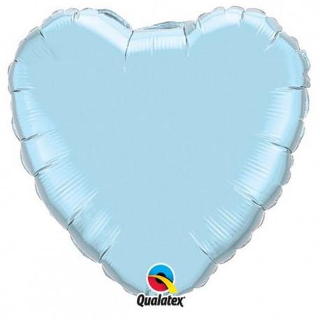 """Globos de foil Corazones de 4"""" Azul Claro Perlado"""