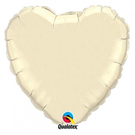 """Globos de foil corazones 9"""" perlado Marfil"""