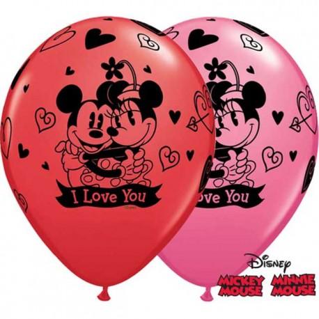 "Globos de 11"" Mickey & Minnie Love You Qualatex"