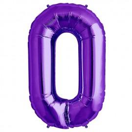 """Globos de Foil de 34"""" (86cm) número 0 Purpura"""