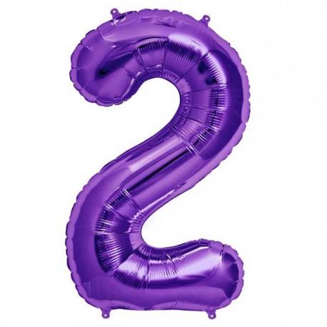 """Globos de Foil de 34"""" (86cm) número 2 Purpura"""