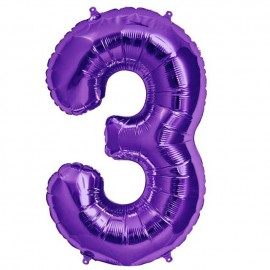 """Globos de Foil de 34"""" (86cm) número 3 Purpura"""