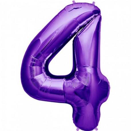 """Globos de Foil de 34"""" (86cm) número 4 Purpura"""