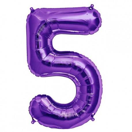"""Globos de Foil de 34"""" (86cm) número 5 Purpura"""