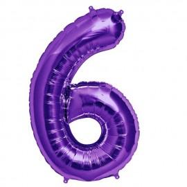 """Globos de Foil de 34"""" (86cm) número 6 Purpura"""
