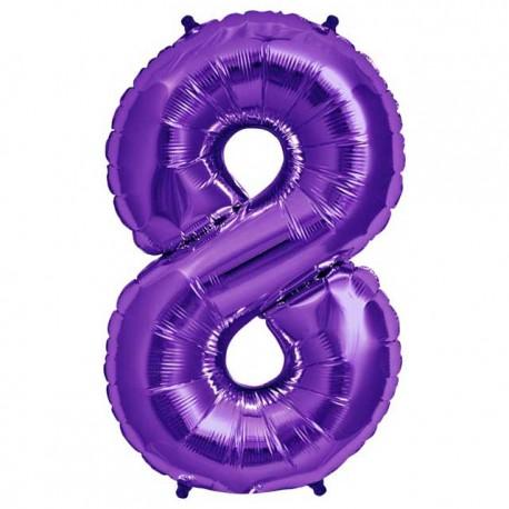 """Globos de Foil de 34"""" (86cm) número 8 Purpura"""